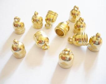10 tips ccb acrylic cord gold 12 x 9 mm