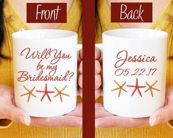 Beach Wedding - Will You be my Bridesmaid - Watercolor Starfish Mug - Bridesmaid Proposal Bridesmaid Mug Gift - Bridesmaid Gift Beach Mug