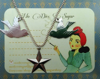 Pair of swallows silver plated chain necklace *matching earrings available*