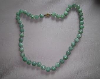 Vintage Chinese Aventurine Necklace - Heavy
