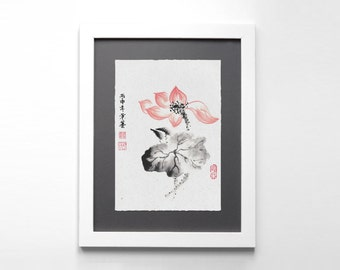 Digital Download Chinese Ink Painting - Zen Lotus Flower, Printable Art, Chinese Painting, Wall Art, Home Decor, Great Gift