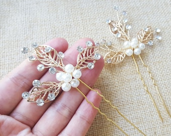 Gold hair pins/ clips with pearls and rhinestones - wedding, engagement bridal accessories