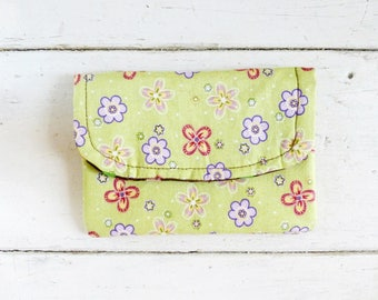 Fabric Wallet, women's wallet, women's gift idea,  hook & loop tape closure, ready to ship, green wallet, floral print, cute accessory