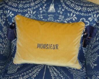 Embroidered velvet Pillow for Madame or Monsieur