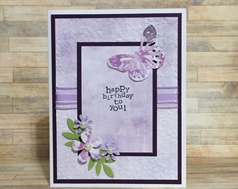 Birthday card, handmade card, greeting card, all occasion card, flower design, butterfly