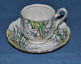 "Beautiful Vintage, Royal Albert, Flower Of The Month Series ""Snowdrop"" Fine Bone China Teacup And Saucer"