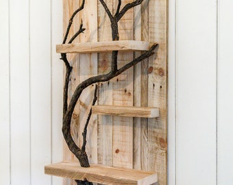 Rustic Home Decor Large Wall Art Reclaimed Pallet Shelves Wooden Home Decor  4 Shelf Tree Branch