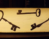 Skeleton Key Wall Art Steampunk Black & White Hand Painted Art on Reclaimed Wood Salvaged From Antique Furniture