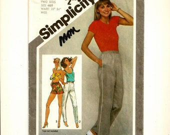 "A Straight Leg, Pull-On Elastic Waistline, Casual Athletic-Style Pants Pattern for Women: Uncut- Sizes 6 & 8 Waist 23""-24"" • Simplicity 9875"