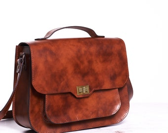 Brown leather shoulder bag. Leather crossbody bag. Leather satchel bag.