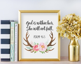 God is Within her, She will not Fall, Psalm 46:5, Christian Nursery Girl Art, Baby Christian Decor, Baby Floral Nursery Print Art, BF-1269