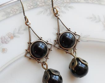 75% Off Clearance Sale, Black Vintage Glass Earrings
