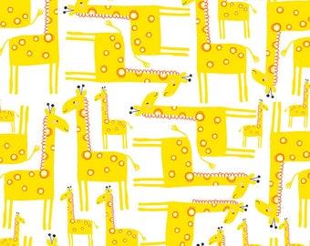 Timeless Treasures Jungle Jam White Giraffe Fabric - 1 yard