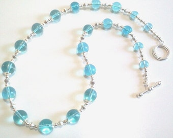 Ice Blue Glass Bead Necklace, Blue and Silver Strand Necklace, Women Gift, Valentine Gift,  Casual Elegance Jewelry
