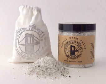 Sore Muscle Soak, Bath Salts, Herbal bath salts, bath salts for pain, herbal tinctures, therapeutic soak, dead sea bath salt soak