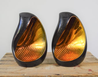 Mid Century Modern Bookends by Ben Seibel for Jenfred Ware Black and Copper Metal Large and Heavy Modernist Decor