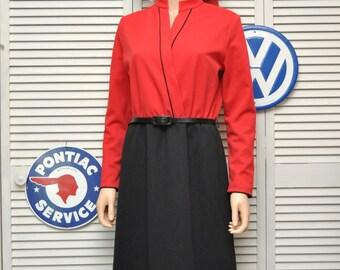 Vintage Womens 80s Dress Red & Black Color Block Jerrie Lurie Medium Costume Theater Secretary Daywear belt Long sleeve Holiday 70s