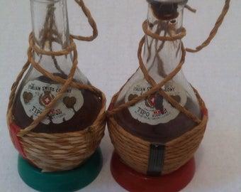 Vintage Salt and Pepper Shakers, Set of Vintage Salt & Pepper Shakers, Wine Bottles, Alcohol Bottles