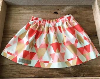 Coral, mint, and gold skirt, infant/toddler skirt, handmade clothing