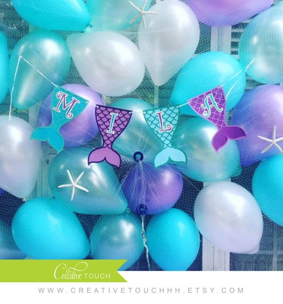 Mermaid birthday banner mermaid banner mermaid birthday for Ariel decoration