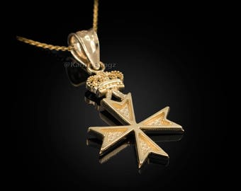 Gold Maltese Cross Crown Charm Necklace (yellow, white, rose gold)