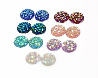 14PCS (12mm) Faux Druzy Sampler, Faux Crystal Clusters Cabochons Small DIAMOND Nuggets Flatback Resin Gem Sampler