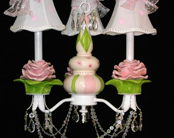 Shabby Chic Chandelier -  French Roses - Girls Room Chandelier -  Rose Ceiling Fixture