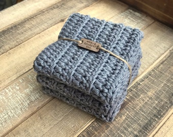 Cotton Washcloth / Dishcloth Set of 3 in Slate Gray