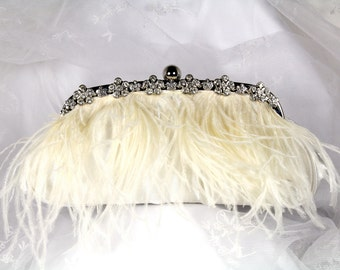 Ivory Ostrich Feather Bridal Clutch Purse,  Ivory Feather Clutch, Satin Wedding Clutch, Feather Wedding Purse with Rhinestone Trim