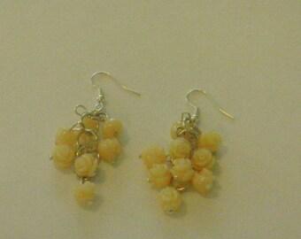 Beautiful coral roses dangle  earrings