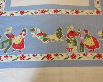 """Vintage Tablecloth 47"""" square Southwestern design"""