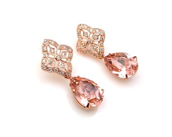 bridal earrings bridesmaid gift prom party vintage rose teardrop swarovski rhinestone rose gold plated cubic zirconia shield filigree post