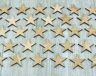Laser-cut wooden stars- crafting supplies wooden stars 0,5/0,75/1/1,25/1,5/1,75/2