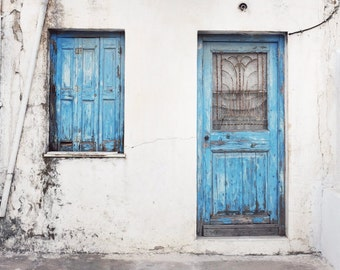 """Greece photography - blue wall art - old wooden door - architecture art - window print - pastel blue wall art  """"Weathered Blues"""""""