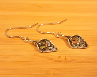 Silver Leaf Shaped Earring with Swarovski bi-cone crystal accent