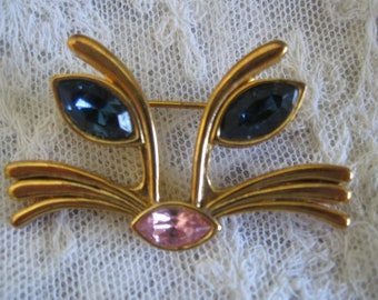 Bold Cat Face Pin Brooch Bright Blue Almond Eyes, Pink Nose, Signed LIA