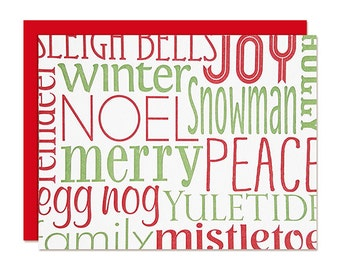Christmas Cards - Boxed Set - Typography - Word Cloud - Letterpress Greeting Cards