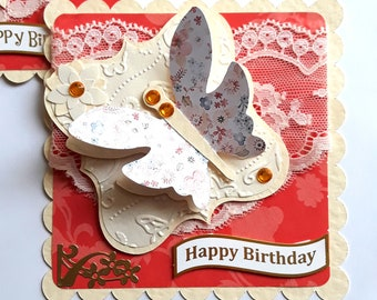 Luxury Handmade Birthday Card Toppers Butterfly & Dragonfly lace  gems Embellishments  card making crafts and scrapbooking