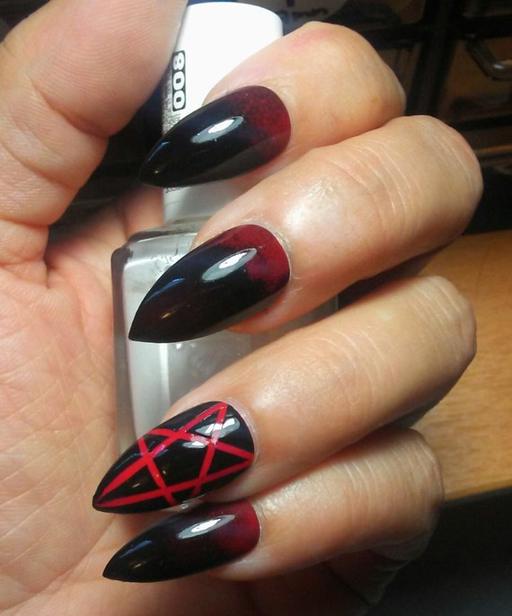 Gothic Stiletto Pentagram Nails Black & Red Long or Short