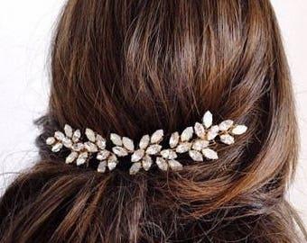 Rhinestone Wedding Hair Piece Gold Wedding Hair Vine Gold Hair Accessory Bridal Silver Hair Vine Crystal Hairpiece Wedding Headpiece Jewelry