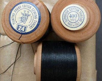 Package of 12 x 400yds  Black MUNTYAK Brand Cotton Sewing Thread Gauge 40, 30 or 24