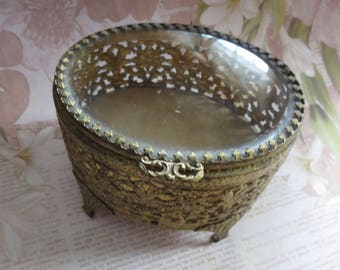Vintage Ornate Gold Plated Filigree Ormolu Footed Jewelry Casket with Beveled Glass Hinged Lid Lined with Velvet, Vanity Trinket Box