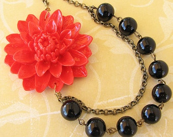 Statement Necklace Beaded Necklace Black Pearl Necklace Red Jewelry Flower Necklace Bridesmaid Jewelry