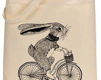 Bunny on Bike cotton tote bag - Book bag, Shopping bag Reusable and Washable - Eco Friendly