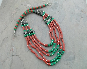 Coral and Turquoise, Turquoise Beads, African Bead Jewelry, Ethnic Jewelry, Unusual Jewelry