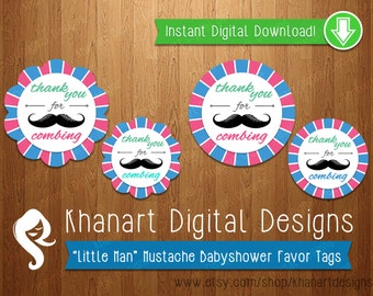 """Instant Download: """"Thank You for Combing"""" Mustache Babyshower Favor Tags (Pink / Light Blue)"""