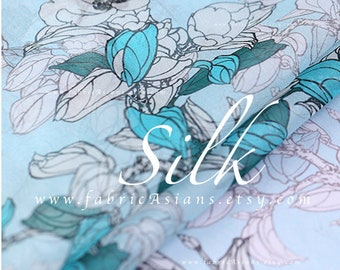 sky Blue Silk Georgette white flowers Fabric