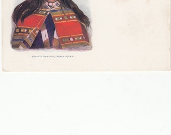 Embossed Indian Squaw-Touch -I -Goo, Undivided Postcard, Antique, Great Image