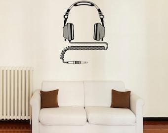 "Headphones Wall Decal /  DJ Wall Sticker / Home Decor (30"" x 40"")"