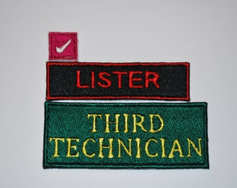 Red Dwarf Lister Costume Patches Fully Embroidered Sci-fi Cosplay